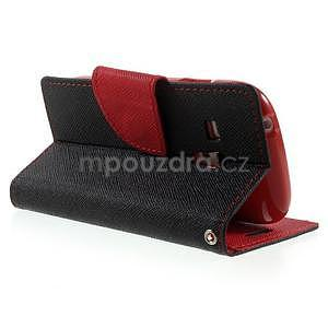 Diary peňaženkové puzdro na mobil Samsung Galaxy S3 mini - čierne/ červené - 4