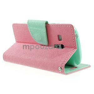 Diary peňaženkové puzdro na mobil Samsung Galaxy S3 mini - ružové/azúrové - 4