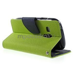 Diary peňaženkové puzdro na mobil Samsung Galaxy S3 mini - zelené/tmavomodré - 4