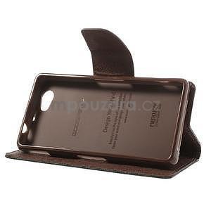 Fancy peňaženkové puzdro na Sony Xperia Z1 Compact - čierne/hnedé - 4