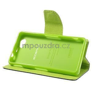 Fancy peňaženkové puzdro pre Sony Xperia Z1 Compact - tmavomodré - 4