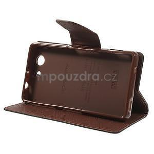 Diary Peňaženkové puzdro pre mobil Sony Xperia Z3 Compact - čierne/hnedé - 4
