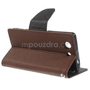 Diary Peňaženkové puzdro pre mobil Sony Xperia Z3 Compact - hnedé - 4