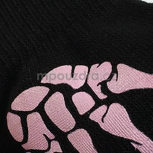 Skeleton rukavice na dotykové telefony - čierné/ružové - 4