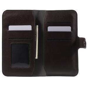 Peňaženkové univerzálne puzdro pre mobil do 140 x 68 x 10 mm - tmavohnedé - 4