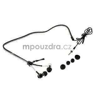 Dvoubarevná zipová sluchátka do uší, bílá / čierná - 4