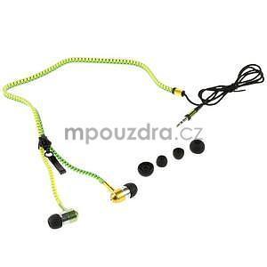 Dvoubarevná zipová sluchátka do uší, zelená / žltá - 4
