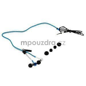 Dvoubarevná zipová sluchátka do uší, bílá / modrá - 4