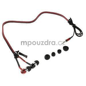 Dvoubarevná zipová sluchátka do uší, červená / čierná - 4