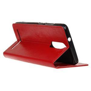 Horse PU kožené puzdro pre mobil Lenovo K5 Note - červené - 5