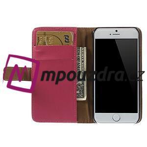 Peňaženkové kožené puzdro na iPhone 6, 4.7 - růžové - 5
