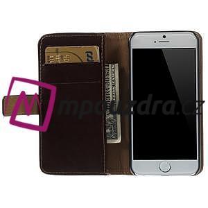 Peňaženkové kožené puzdro na iPhone 6, 4.7 - hnedé - 5