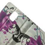 Peňaženkové puzdro pre Samsung Galaxy Note 4- fialový kvet - 5/7