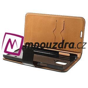 Peňaženkové kožené puzdro na Samsung Galaxy Note 4- čierné - 5