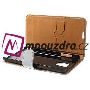 Peňaženkové  kožené puzdro na Samsung Galaxy Note 4- biele - 5