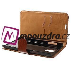 Peňaženkové kožené puzdro na Samsung Galaxy Note 4- hnedé - 5