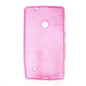Gélové kartáčové puzdro na Nokia Lumia 520- růžové - 5