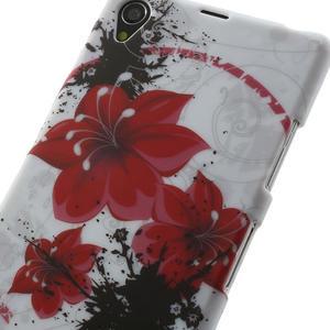 Gélové puzdro pre Sony Xperia Z1 C6903 L39- červený kvet - 5