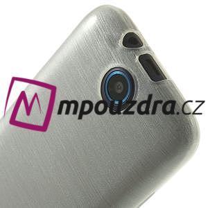 Gélové kartáčované puzdro na HTC Desire 310- biele - 5