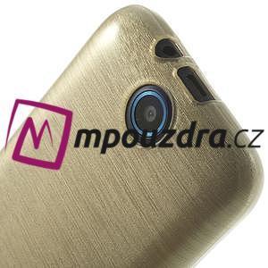 Gélové kartáčované puzdro na HTC Desire 310- zlaté - 5