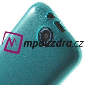 Gélové kartáčované puzdro na HTC Desire 310- modré - 5