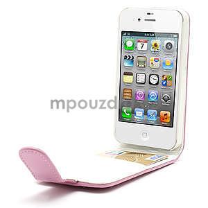 Flipové puzdro pre iPhone 4, 4s- svetleružové - 5