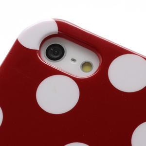 Gélové PUNTÍK puzdro pre iPhone 5, 5s- červené - 5