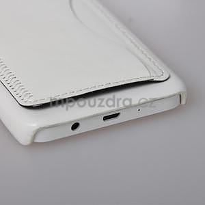 Kožený/plastový kryt se stojánkem na Samsung Galaxy A3 - biely - 5