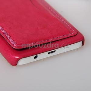 Kožený/plastový kryt so stojanom pre Samsung Galaxy A3    - rose - 5