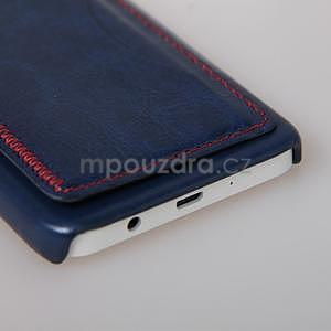 Kožený/plastový kryt se stojánkem na Samsung Galaxy A3 - modrý - 5