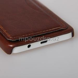 Kožený/plastový kryt se stojánkem na Samsung Galaxy A3 - hnědý - 5