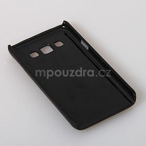 Kožený/plastový kryt so stojanom pre Samsung Galaxy A3 - čierny - 5