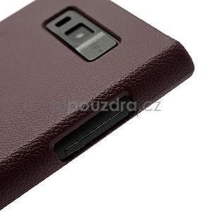 Texturované  puzdro pre LG Optimus L7 P700- hnedé - 5