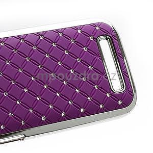 Drahokamové puzdro pre HTC One SV-fialové - 5