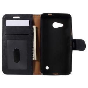 Cloth PU kožené puzdro na mobil Microsoft Lumia 550 - čierné - 5