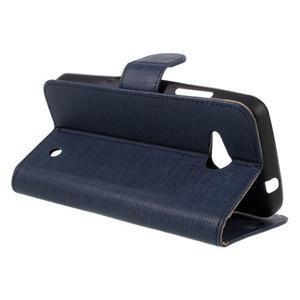 Cloth PU kožené puzdro pre mobil Microsoft Lumia 550 - tmavo modré - 5