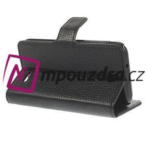 Peňaženkové kožené puzdro na HTC Desire 310- čierné - 5