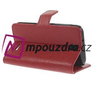 Peňaženkové kožené puzdro na HTC Desire 310- červené - 5