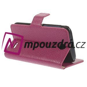 Peňaženkové kožené puzdro na HTC Desire 310- růžové - 5