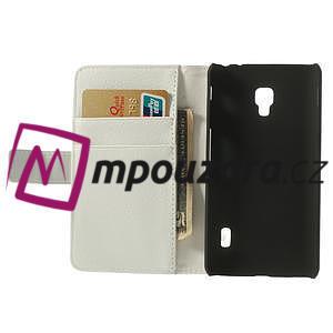 Peňaženkové puzdro na LG Optimus F6 D505 - biele - 5