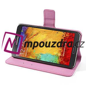 Peňaženkové puzdro pre Samsung Galaxy Note 3- fiaolový kvet - 5