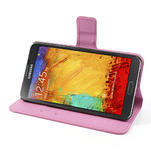 Peňaženkové puzdro pre Samsung Galaxy Note 3- fiaolový kvet - 5/7