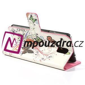 Peňaženkové  puzdro pre Samsung Galaxy Note 3- farebné motýle - 5
