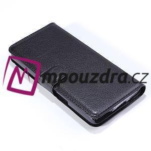 Peňaženkové kožené puzdro na Alcatel One Touch Idol OT-6030D- čierné - 5