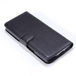 Peňaženkové kožené puzdro na Alcatel One Touch Idol OT-6030D- čierné - 5/6