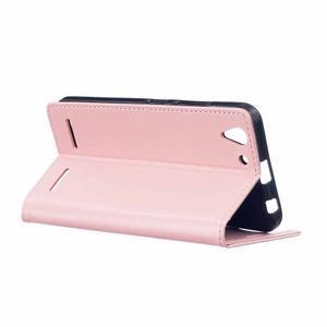 Knížkové PU kožené pouzdro na Lenovo Vibe K5 / K5 Plus - růžové - 5