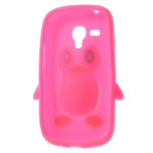 Silikonový tučniak puzdro pre Samsung Galaxy S3 mini i8190- ružový - 5