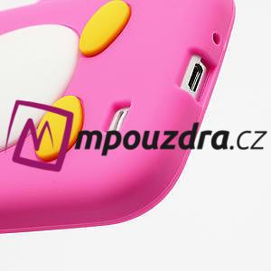Silikonový Tučniak puzdro pro Samsung Galaxy S4 i9500- ružový - 5