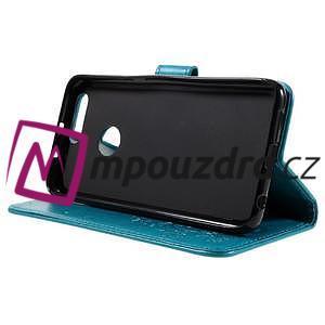 Floay PU kožené puzdro s kamienky na mobil Honor 8 - modré - 5