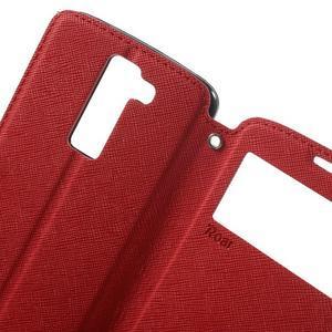 Diary PU kožené puzdro s okienkom na LG K8 - červené - 5